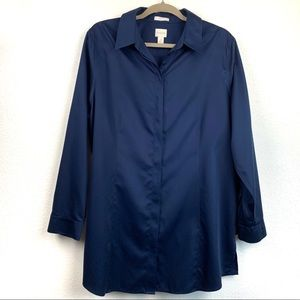 Chico's size 3 blue long sleeve button down top